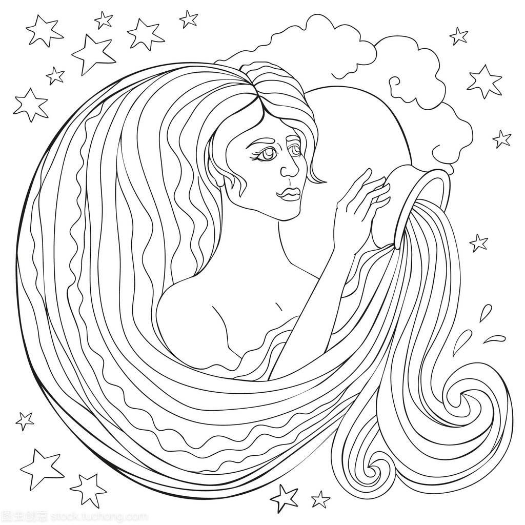矢量座的姑娘在星座线倒水。一位见面美丽水瓶天蝎座不回微信绘制a矢量图片
