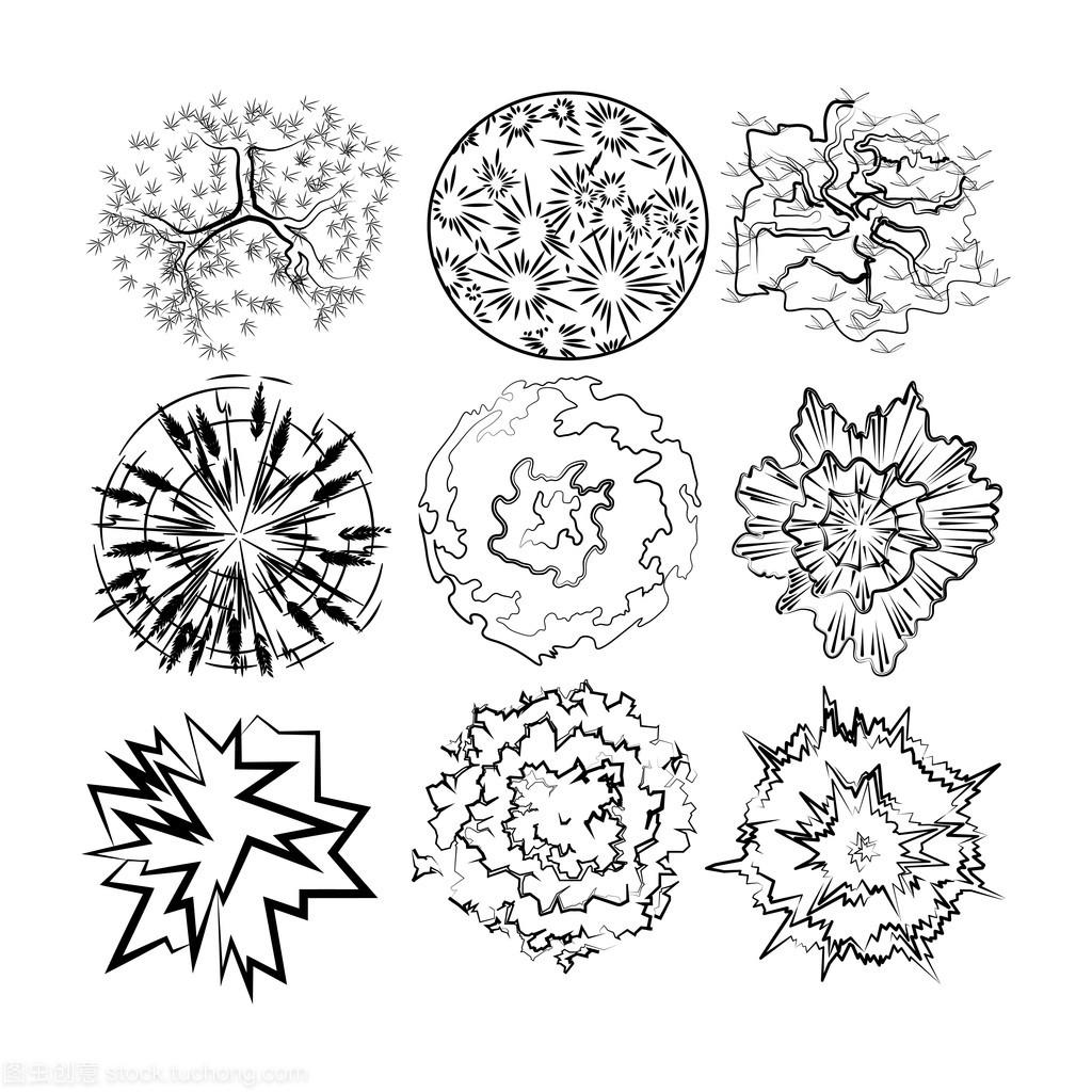 设置的植物的顶视图图像景观设计中绘制比较法中的建筑设计图片