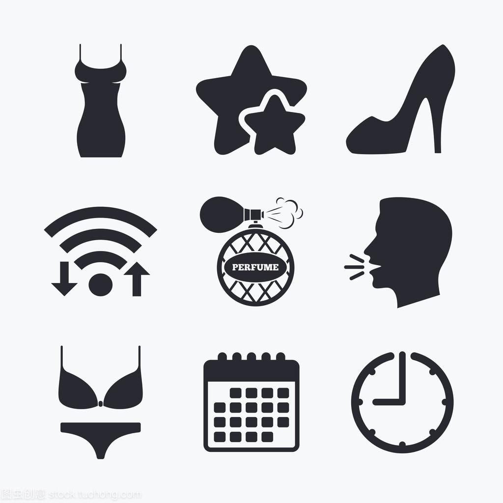 服饰性感图标。性感鞋香水。标志女妇女腿模图片