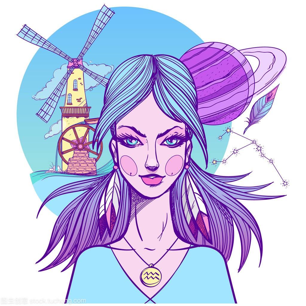 女孩的照片星座座双鱼座的画作水瓶图片