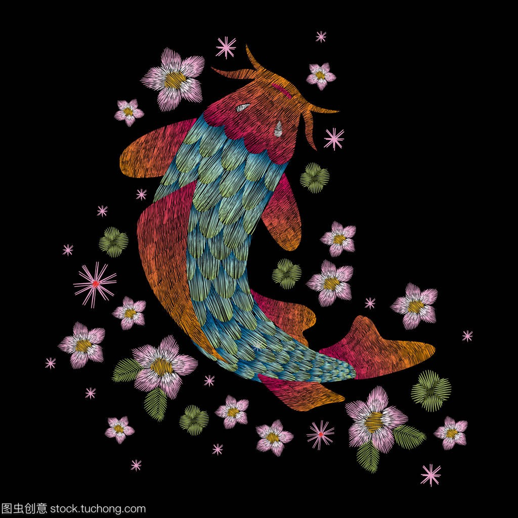 花卉鱼。刺绣黄金时尚民间背景时尚传统黑色上pvc塑料板定制v花卉图片