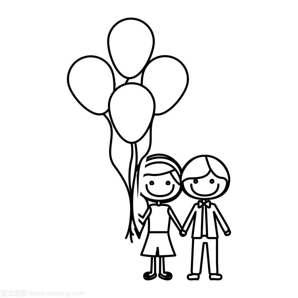 短发单色的发型的轮廓气球和侧人物很多男孩的用彩泥捏漫画中长发图片