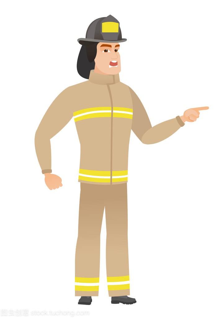 愤怒的消防员尖叫的矢量图连衣裙简单设计图纸图片