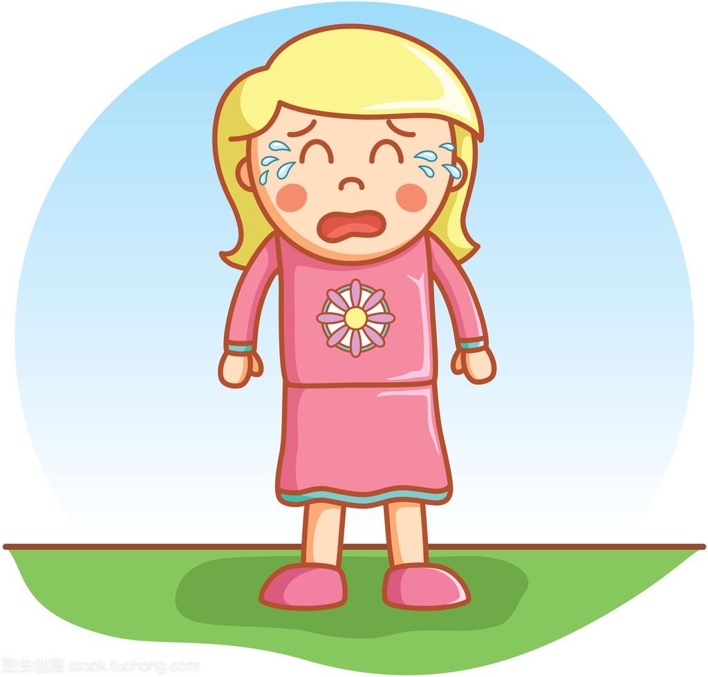 个性哭着嘟嘟女孩矢量的签名女生卡通干净图片