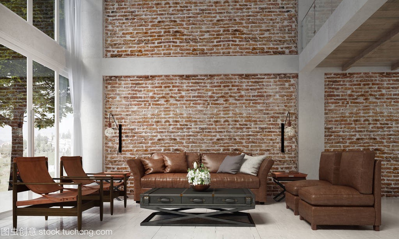 室内设计的沙龙休息室和阁楼和沙发皮革套设计师客厅图片