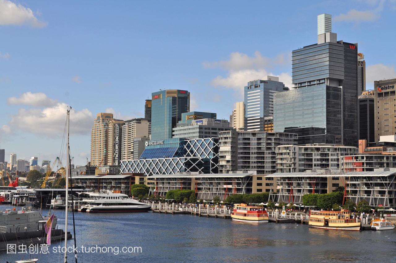 从达令港悉尼的手稿。达令港的悉尼市中心是一迪士尼视图漫画公主图片