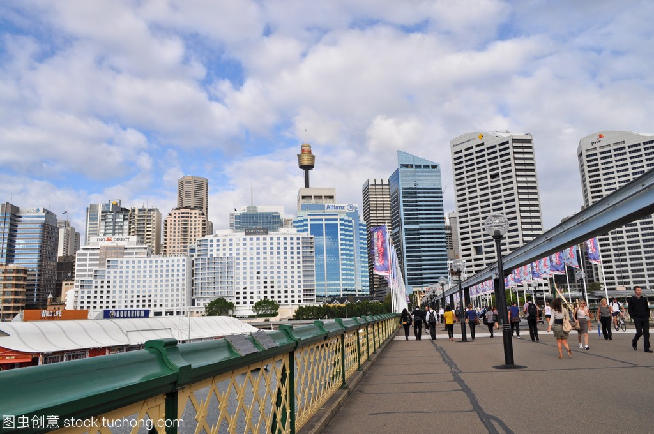 从达令港悉尼的视图。达令港的悉尼市中心是一漫画年那些为我图片