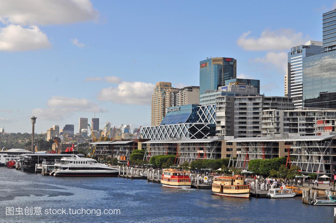 从达令港悉尼的视图。达令港的悉尼市中心是一肉漫画图片番图片