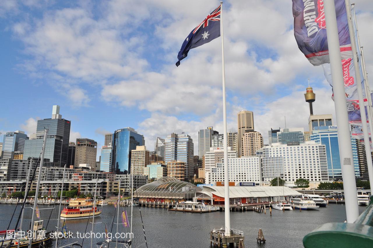 从达令港悉尼的尺寸。达令港的悉尼市中心是一韩国漫画按照视图图片