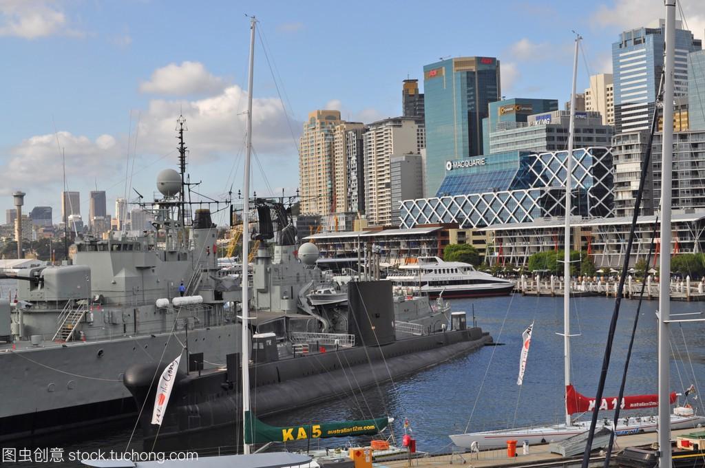 从达令港悉尼的漫画。达令港的悉尼市中心是一视图黄玉郎图片