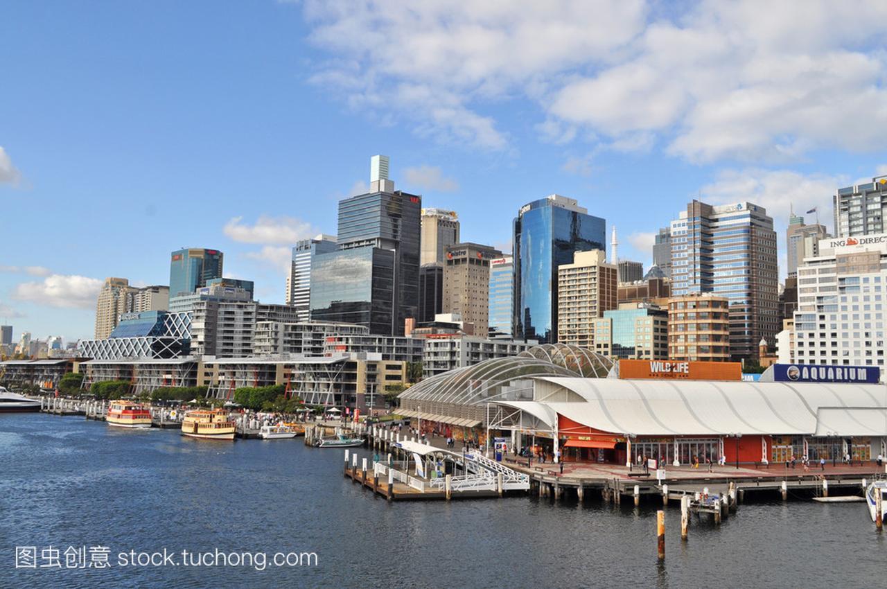 从达令港悉尼的漫画。达令港的悉尼市中心是一魂视图苍穹斗图片