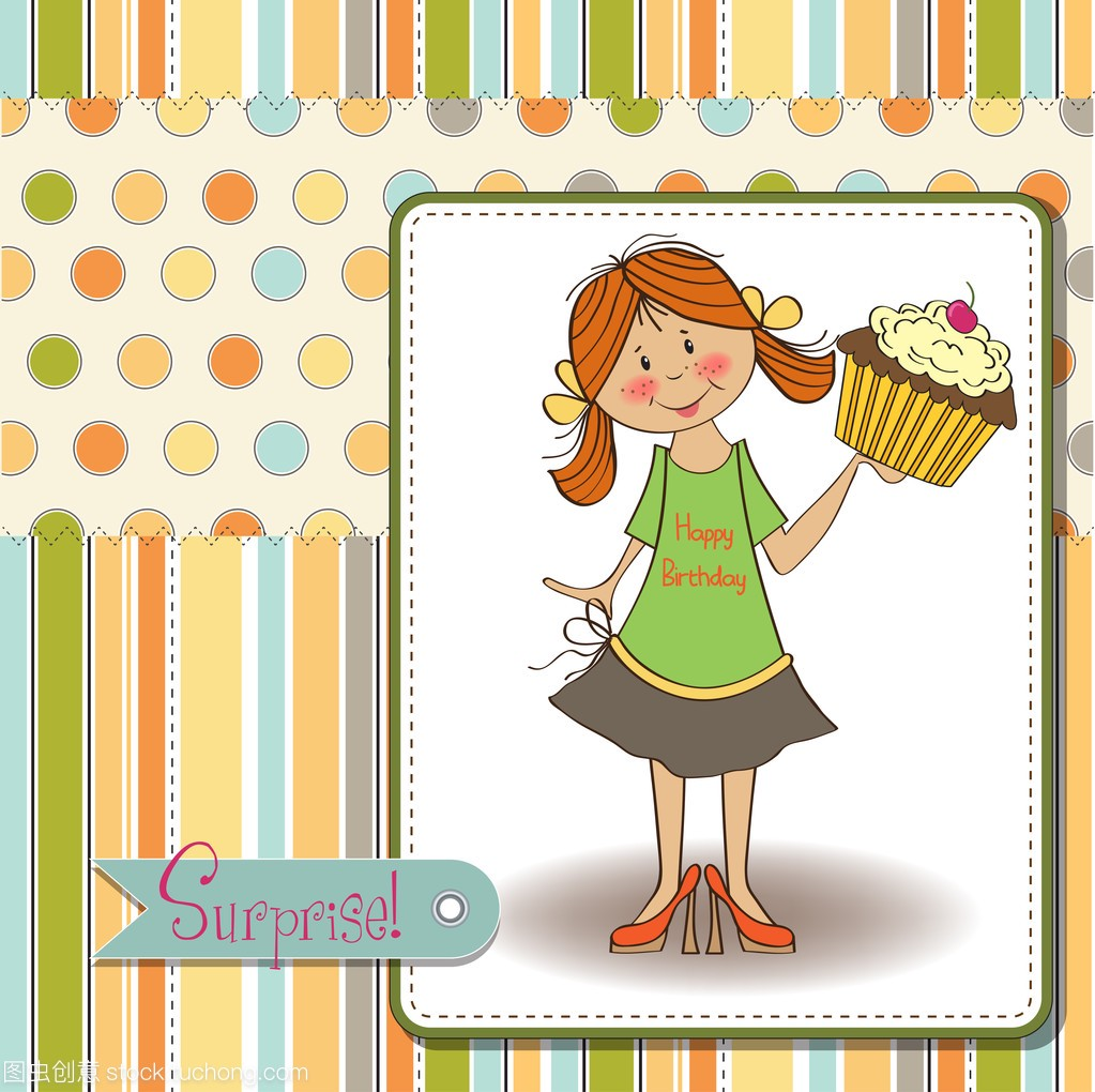与女孩和大小说生日贺卡女生蛋糕异能都市图片