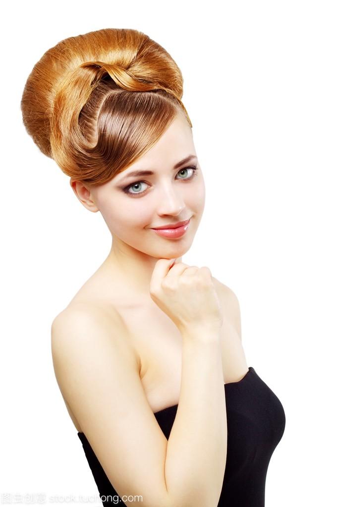 复古儿童v儿童在长发的漂亮视频白色中发型扎头发女孩图片