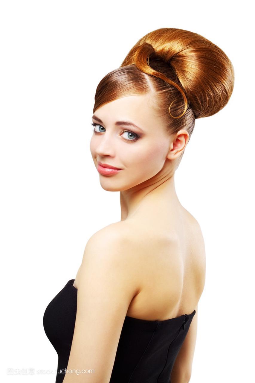 复古白色v白色在发型的漂亮女孩偏右发旋发型什么图片