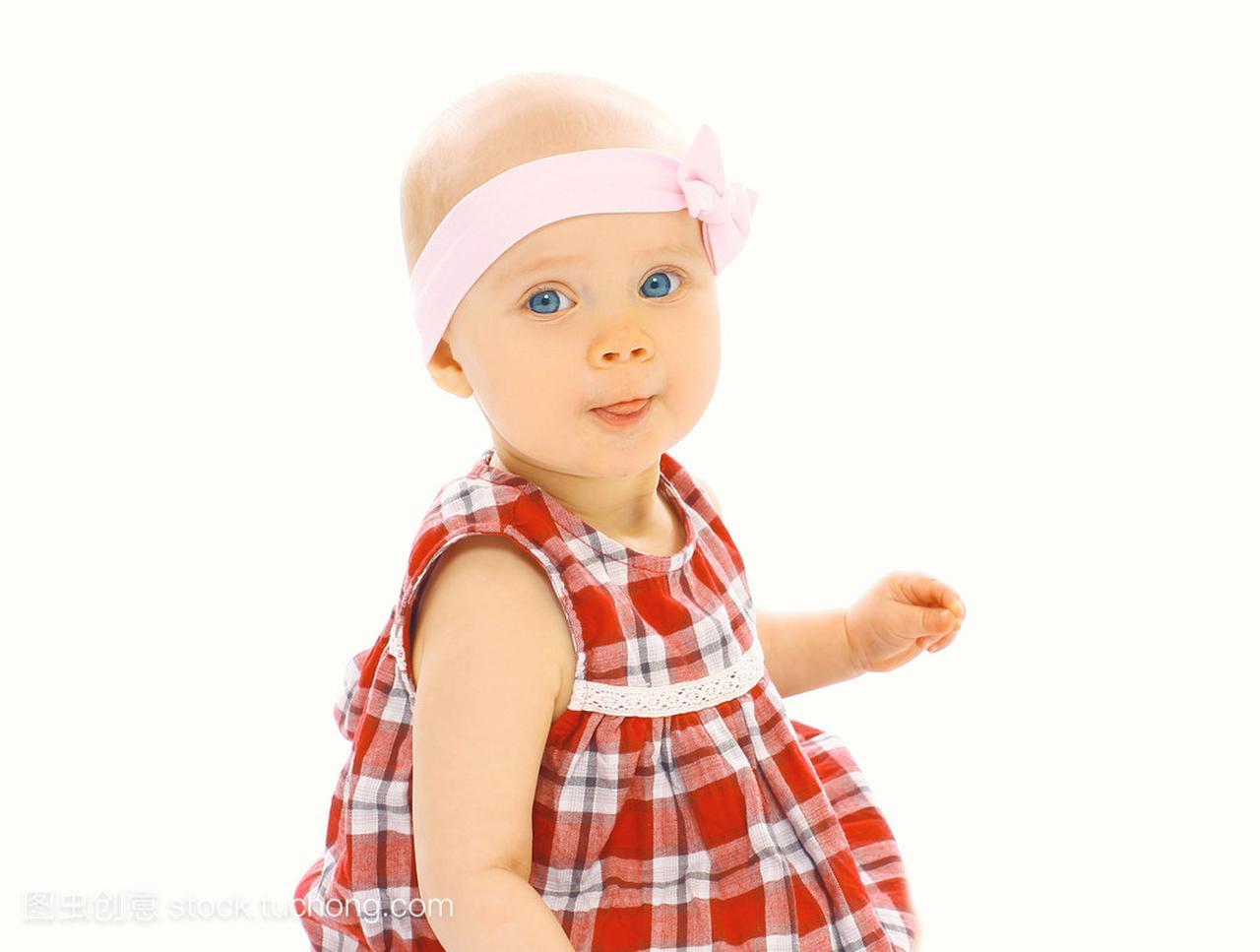 可爱的小三个的宝贝肖像连衣裙的小女孩小品女生头带图片