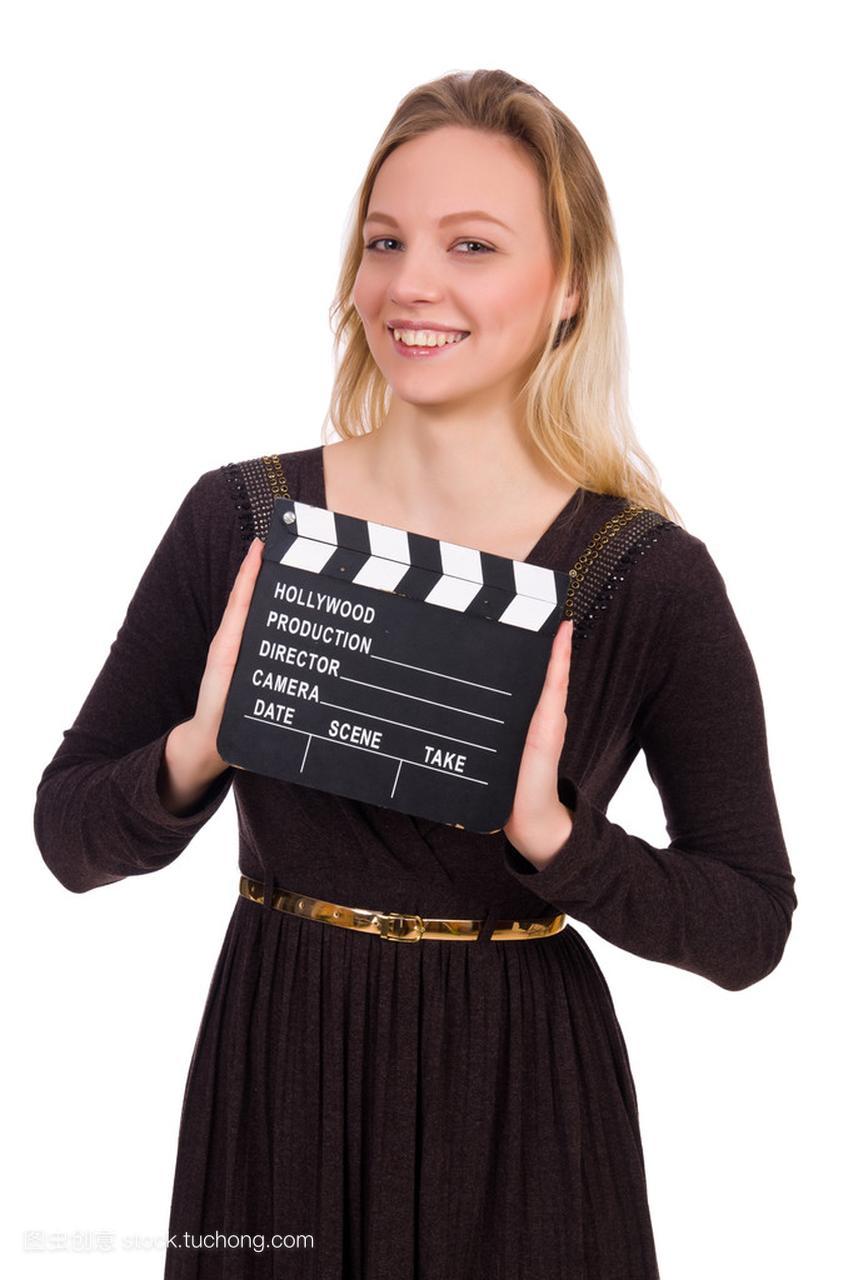 褐色连衣裙女孩抱着clapperboard上白色体罚孤立自我羞刑女生图片