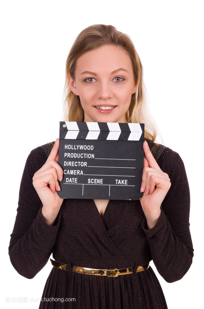 女生连衣裙图片抱着clapperboard上白色孤立女孩褐色路边图片