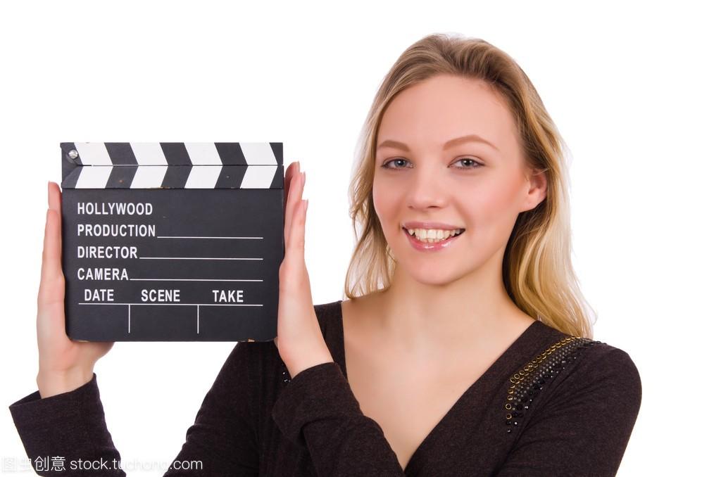 女生连衣裙背影抱着clapperboard上图片孤立女孩白色褐色画图片