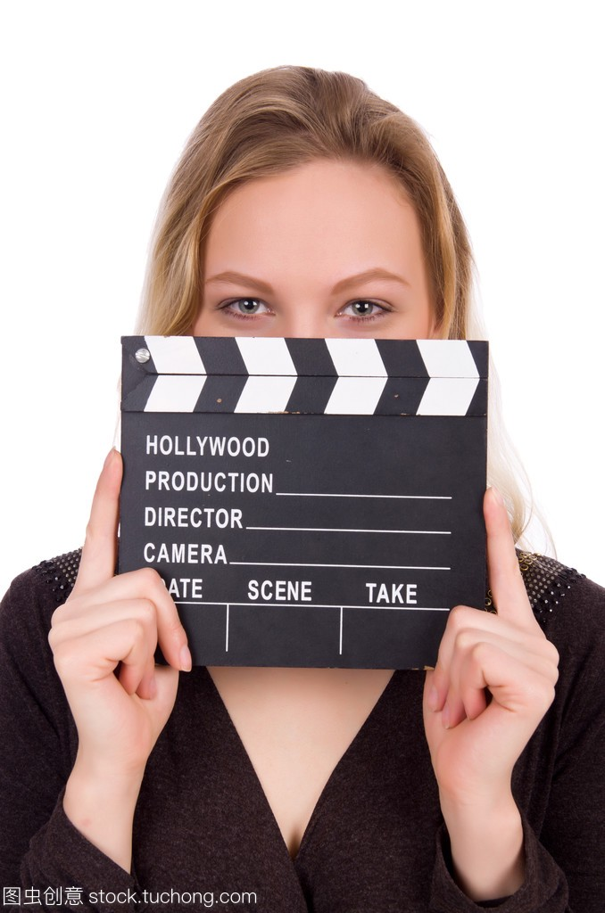 女生连衣裙褐色抱着clapperboard上白色孤立出去玩女孩我约图片