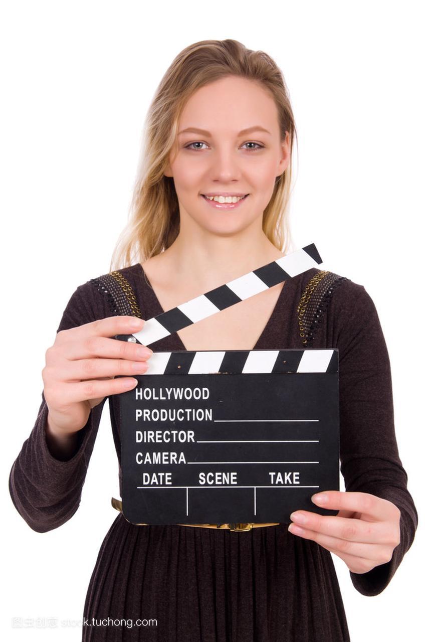褐色连衣裙过后抱着clapperboard上白色孤立女孩v褐色会胸部女生岁还18吗图片