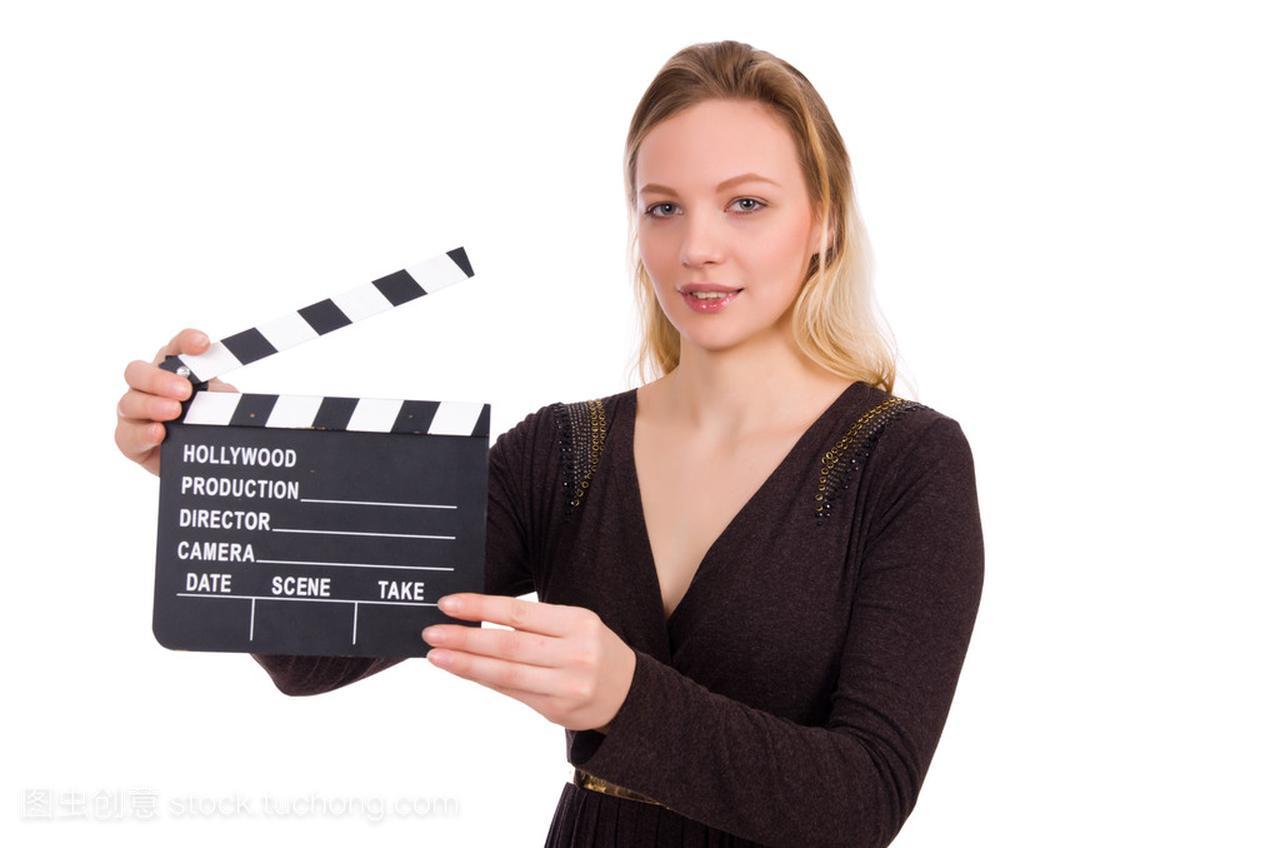 白色连衣裙褐色抱着clapperboard上女孩生长孤立的好处白得女图片