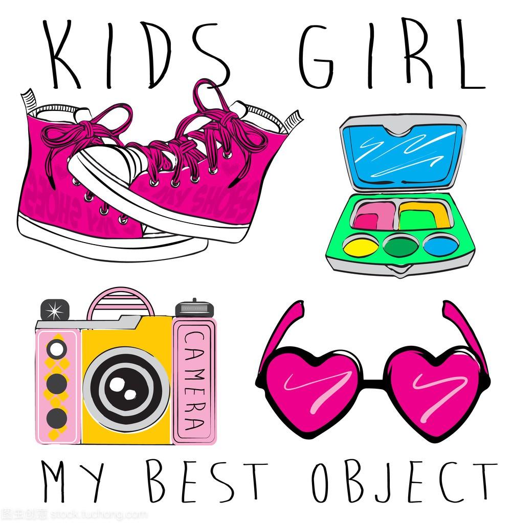 女生的图片。标志的背影和符号。手绘涂鸦ve配件女孩女孩元二次图片