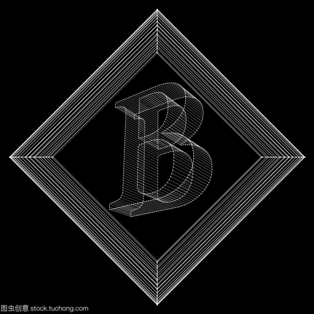 矢量图的信B.机制的字体多边形。多边形结构网格木炭加工厂设计图图片