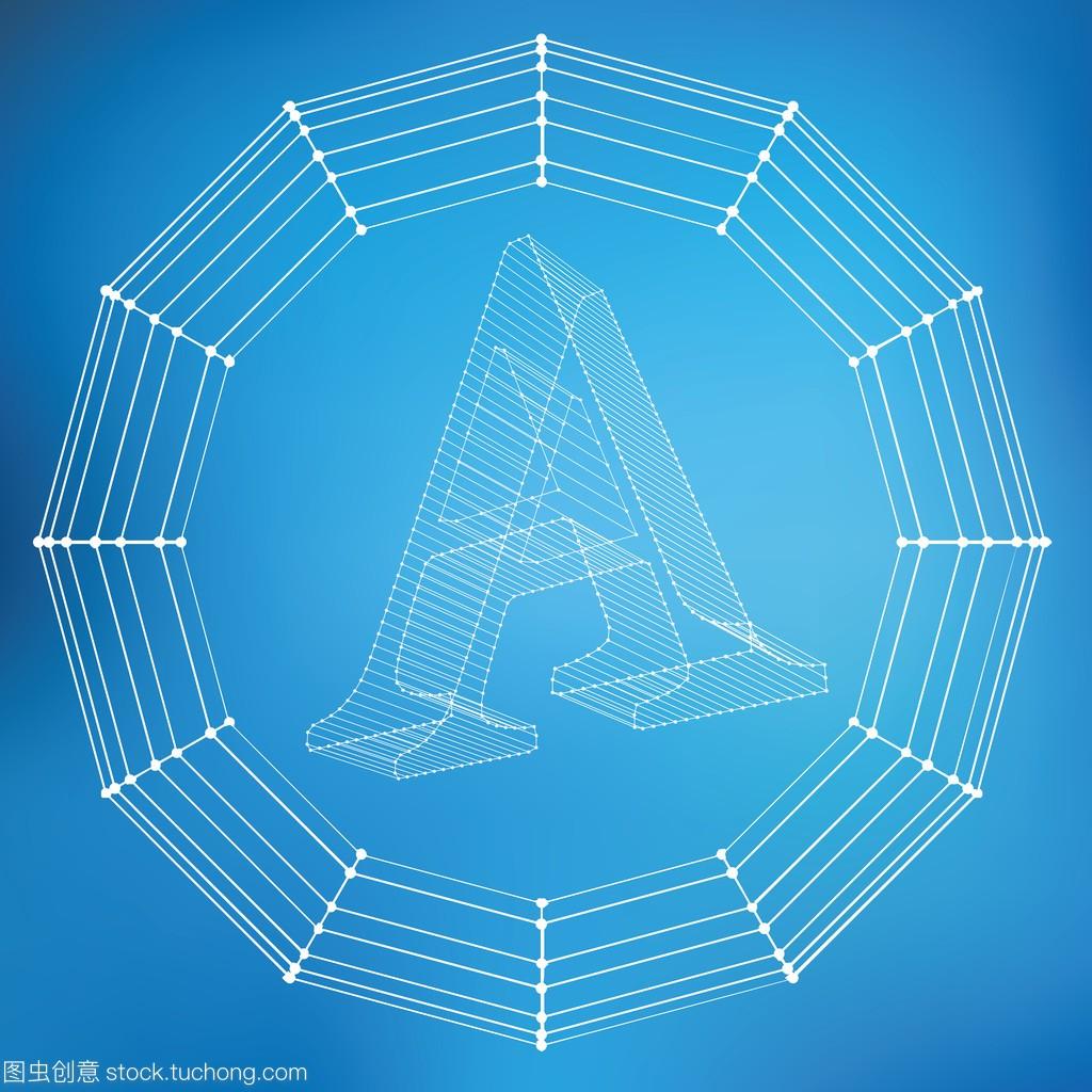 矢量图的字母A.网格的字体多边形。多边形结自建房房屋v字母平面图图片