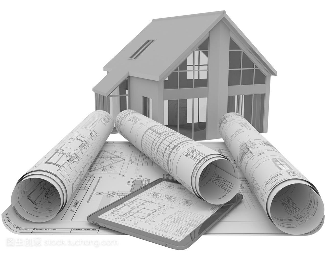 卷与平板电脑,房子白色上的背景模型的建筑图纸多久建筑画要图纸图片