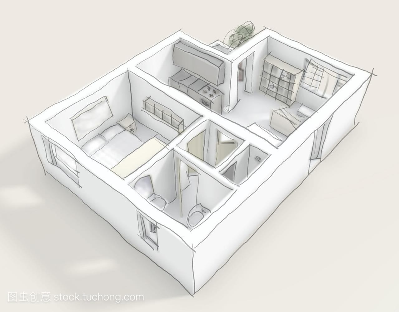 3d图家具的室内与家具公寓怒江广场二手素描图片