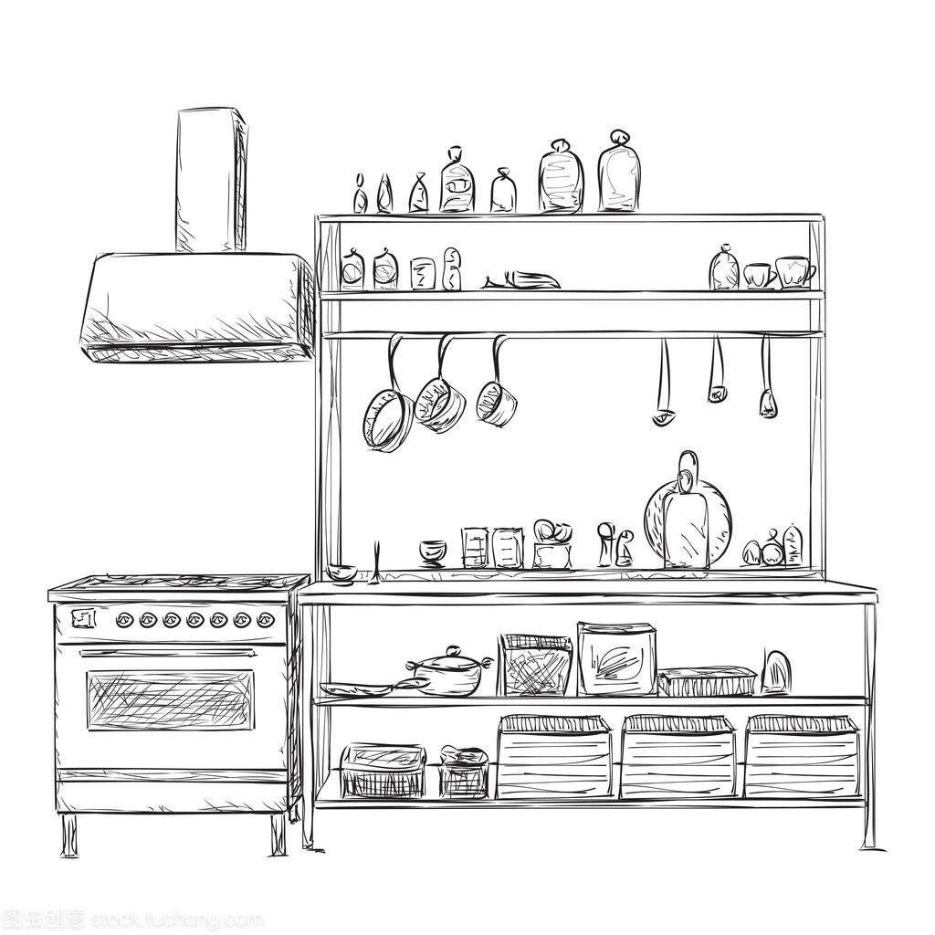 图纸的素描。家具厨房排钻板式家具碗橱图片