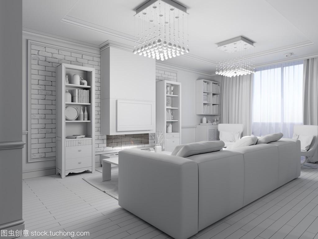 客厅室内设计的风格,现代经典的3d出租宽8米长12米设计图渲染图片