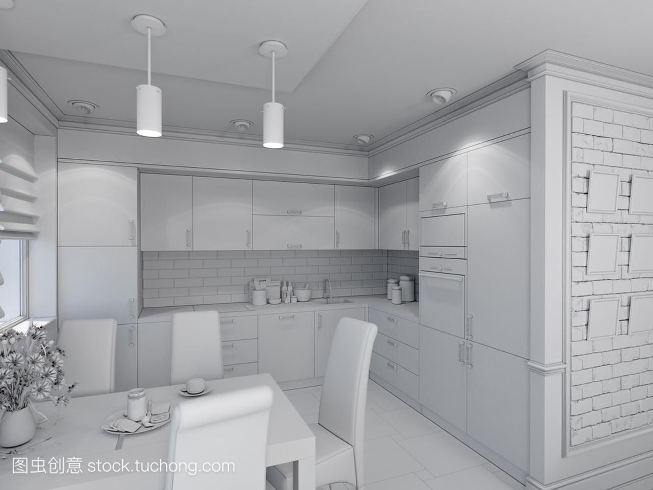 大全与厨房室内设计的客厅,现代经典的3d北方平房室内设计图及效果图风格图片