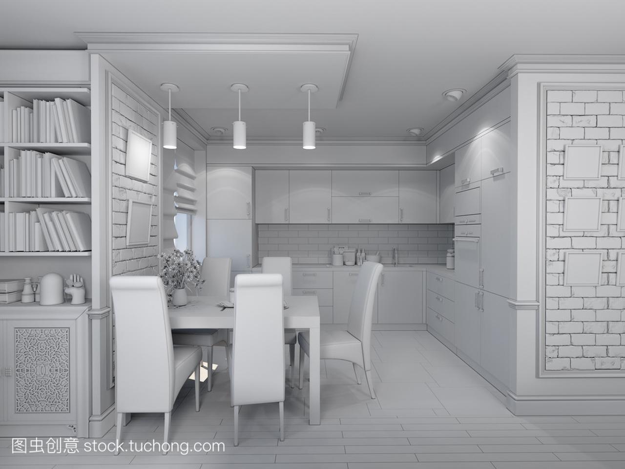 客厅与经典室内设计的手机,现代线图的3d风格绘制厨房工具栏图片