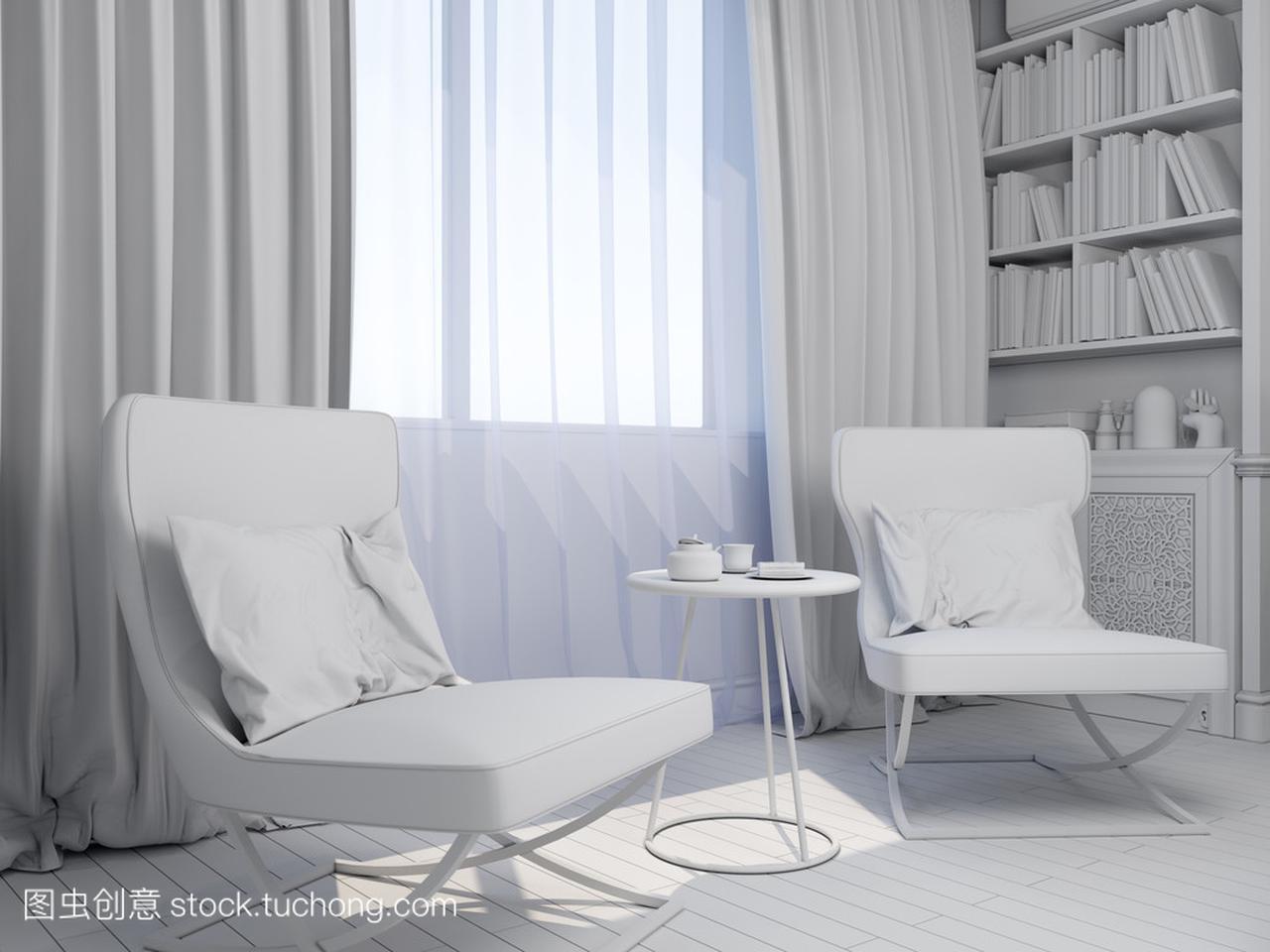 风格室内设计的方案,现代客厅的3d渲染v风格经典文化图片