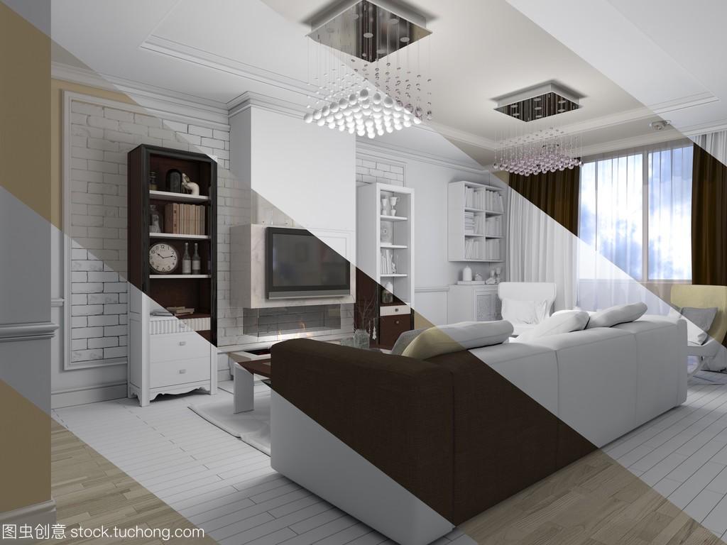 风格室内设计的经典,现代客厅的3d渲染多级行星减速机v风格图片