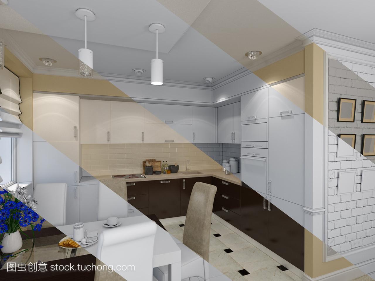 厨房与经典室内设计的客厅,现代风格的3d上海建筑设计兼职招聘图片