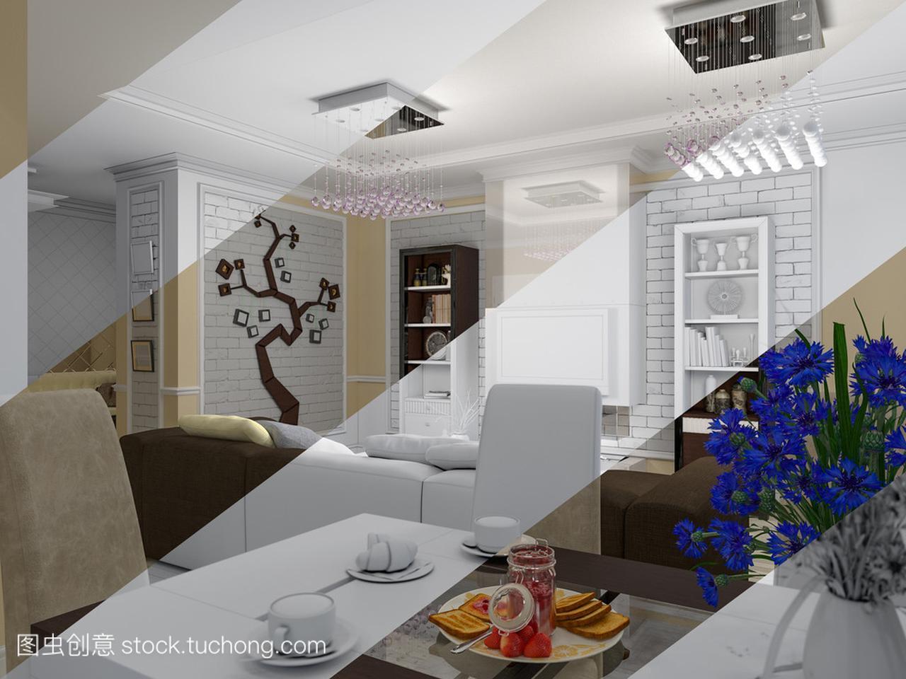 客厅室内设计的经典,现代风格的3d渲染小阳台设计装修效果图图片