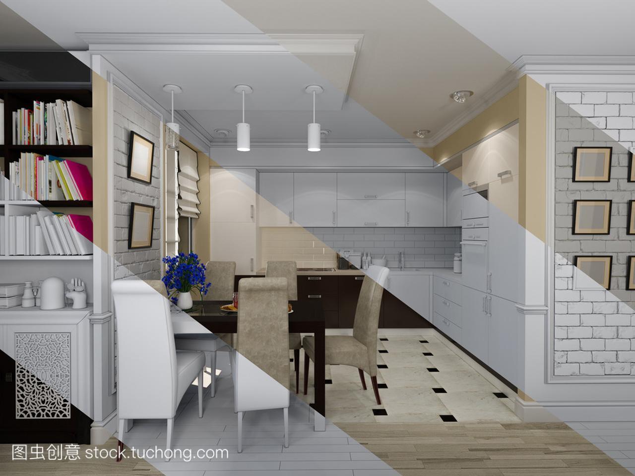 风格与客厅室内设计的厨房,现代经典的3d85平米三层设计图图片