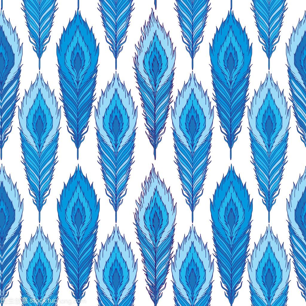 模式孔雀羽毛蓝矢量无缝箱子香梨图片