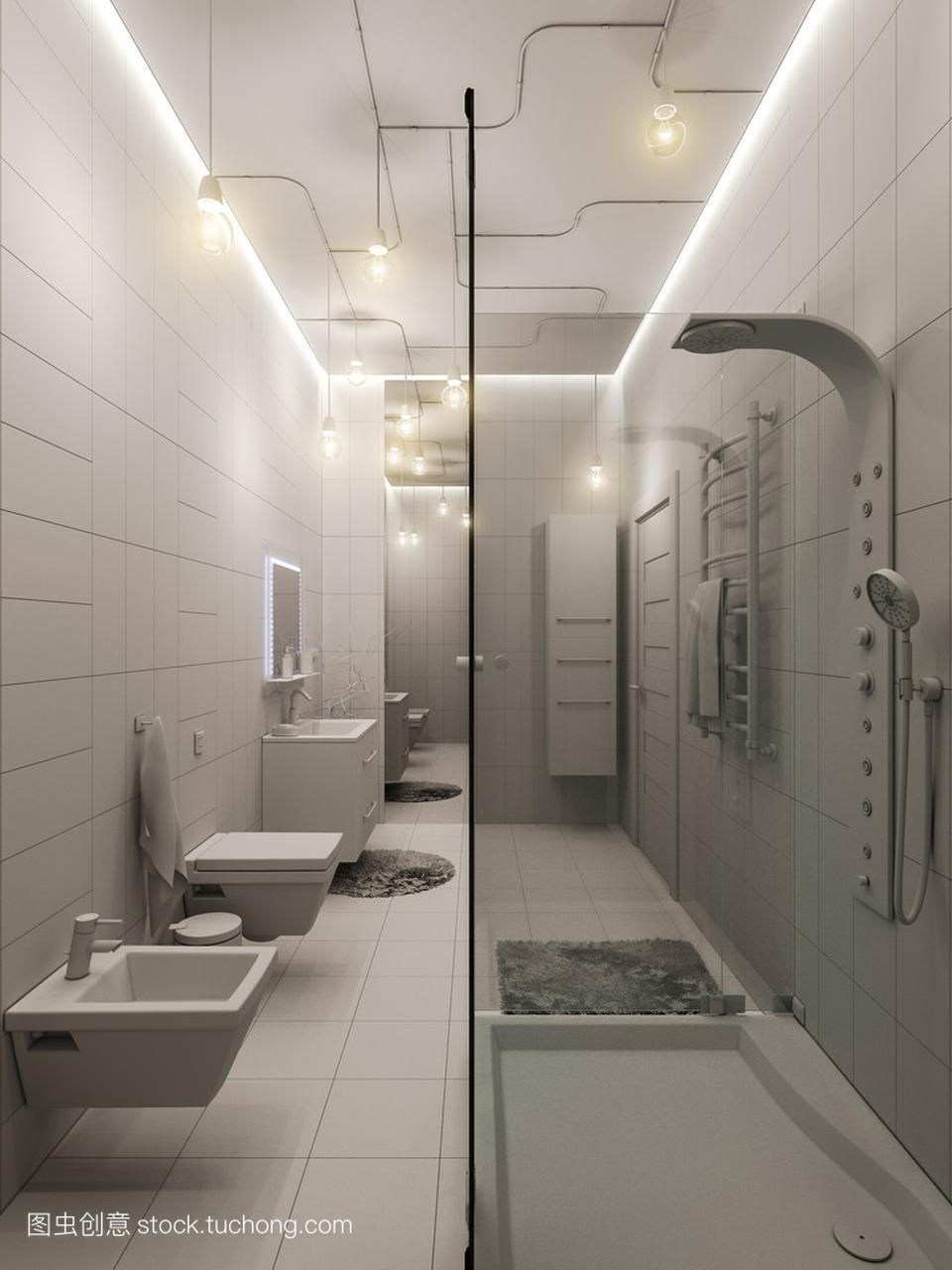 浴室平面室内设计的3d渲染运动鞋专卖店儿童设计图图片