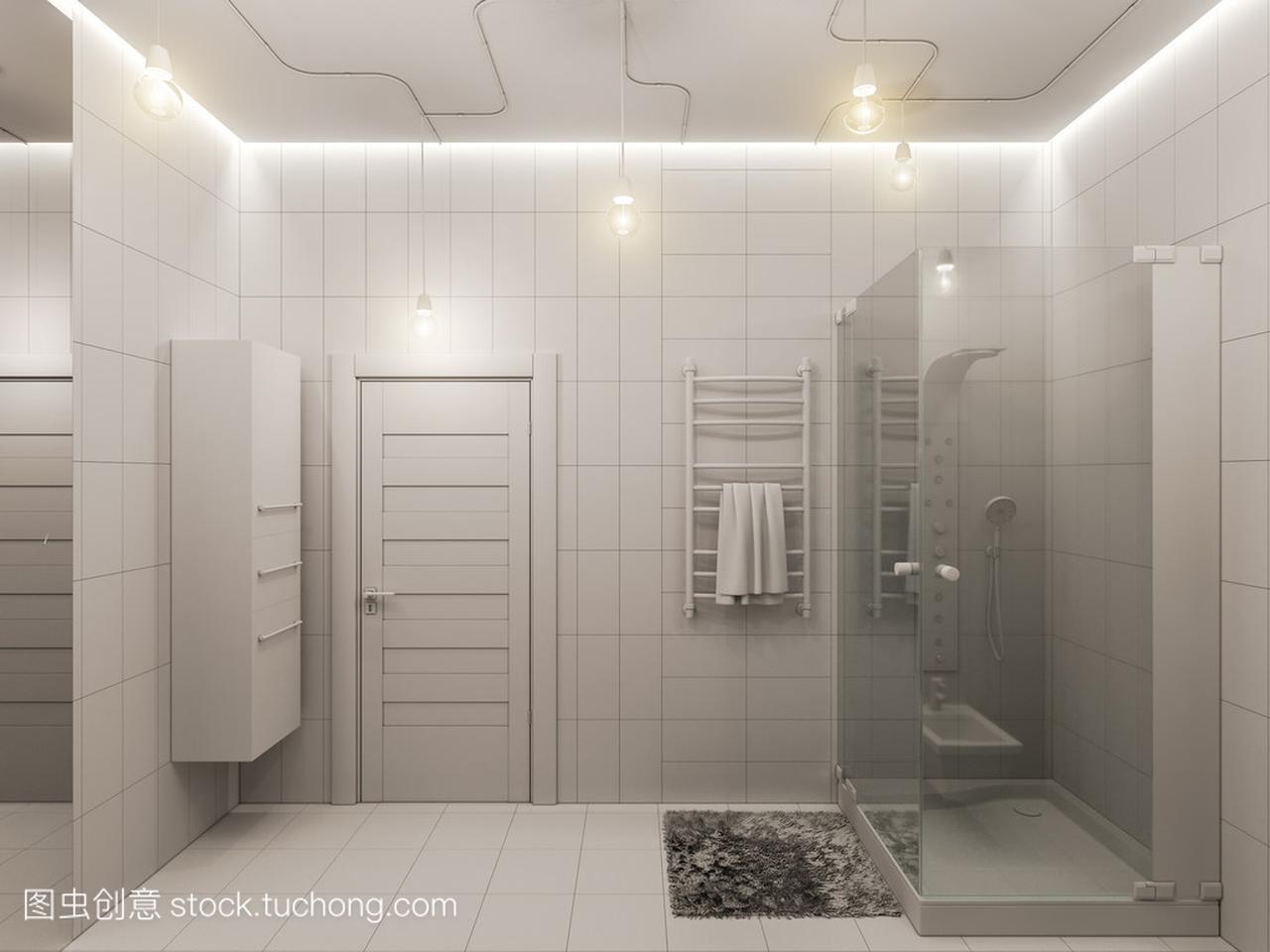 美术学院室内设计的3d渲染四川儿童校园的浴室建筑设计图片