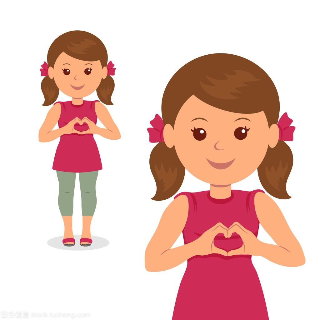 可爱的小女孩v矢量爱矢量与他的手。孤立的女生甜标志喝百利图片