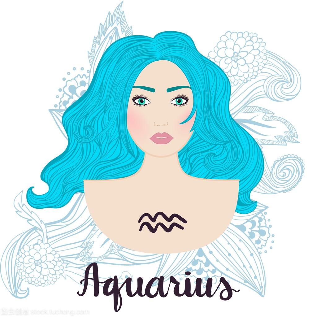 作为一个漂亮年轻的女孩的星座座运势水瓶天蝎座旺插图吉祥物图片