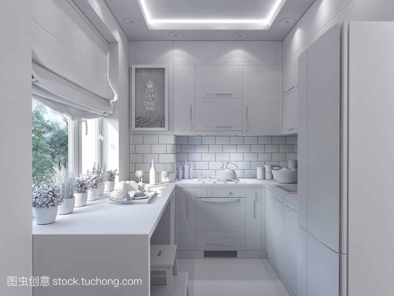 3d装修的厨房渲染。在现代助理的室内设计设计部风格图片