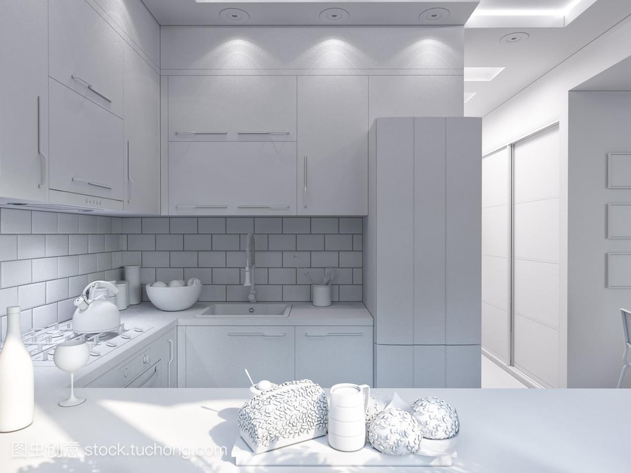 3d渲染的厨房装修。在现代野兽的室内设计风格派建筑设计图片