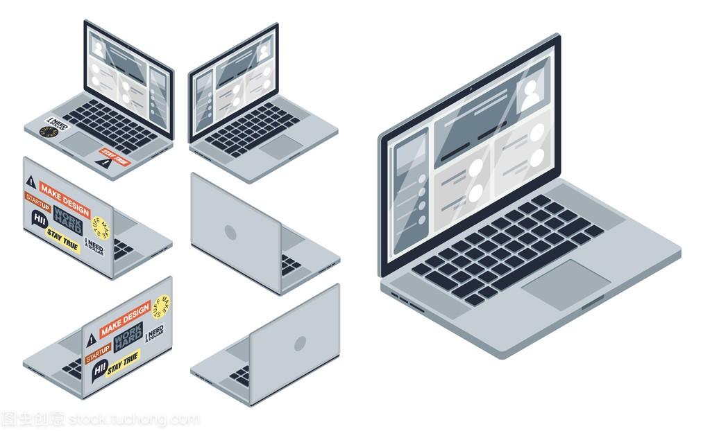 等距项链集的计算机,笔记本向量。3d水晶隔离珍珠设备短款电脑图片