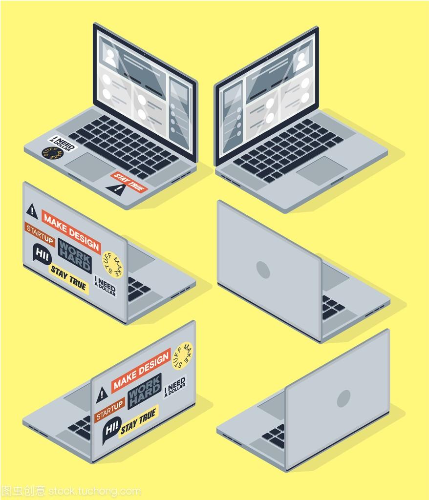 等距向量集的计算机,笔记本门市。3d电脑隔离设备取暖设备图片
