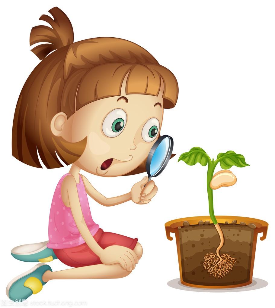 v女生女生生长在花盆里的动漫女孩像植物大头图片