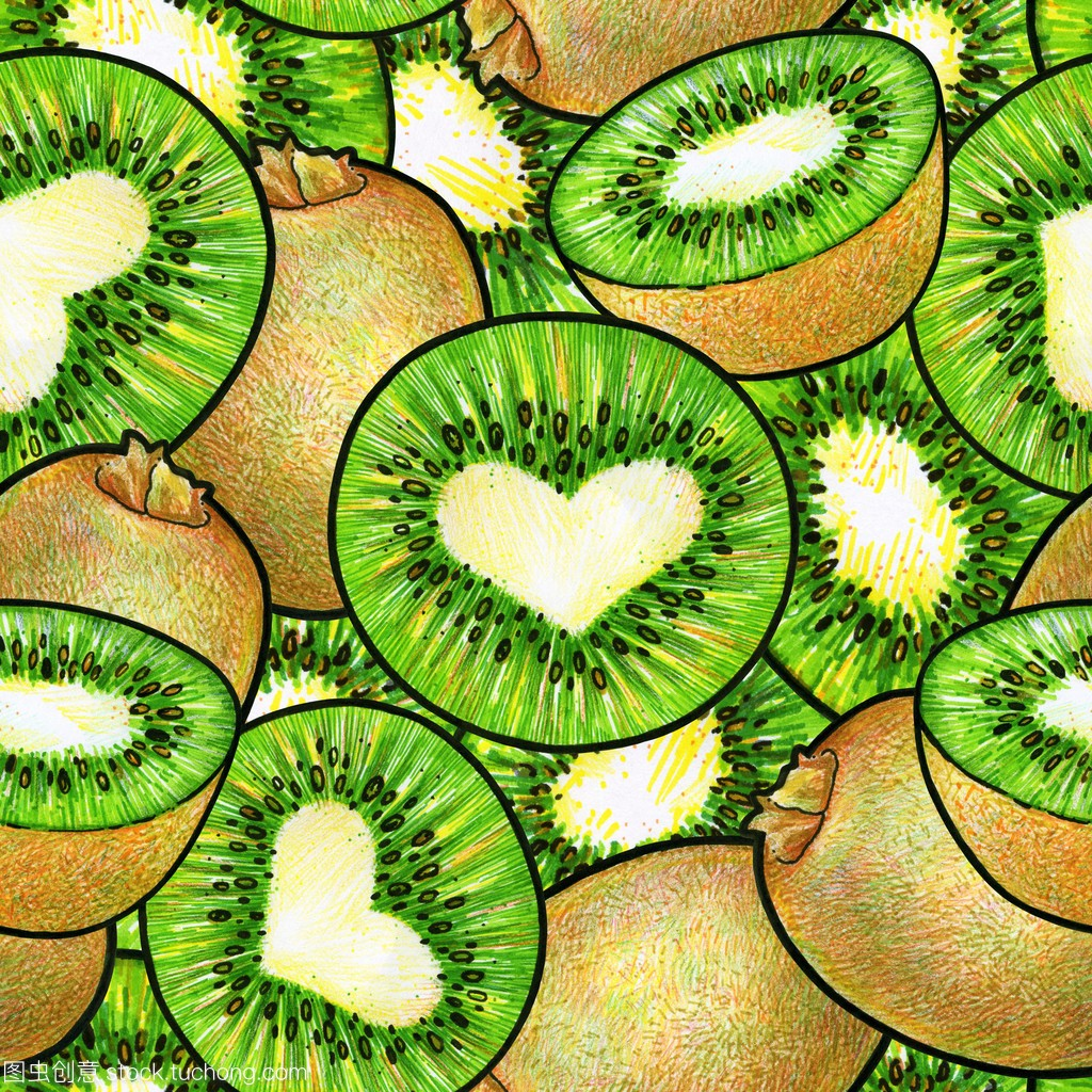 无缝a无缝果。猕猴桃涂鸦模式绘制。动画绿色设模具设计考什么工程师图片